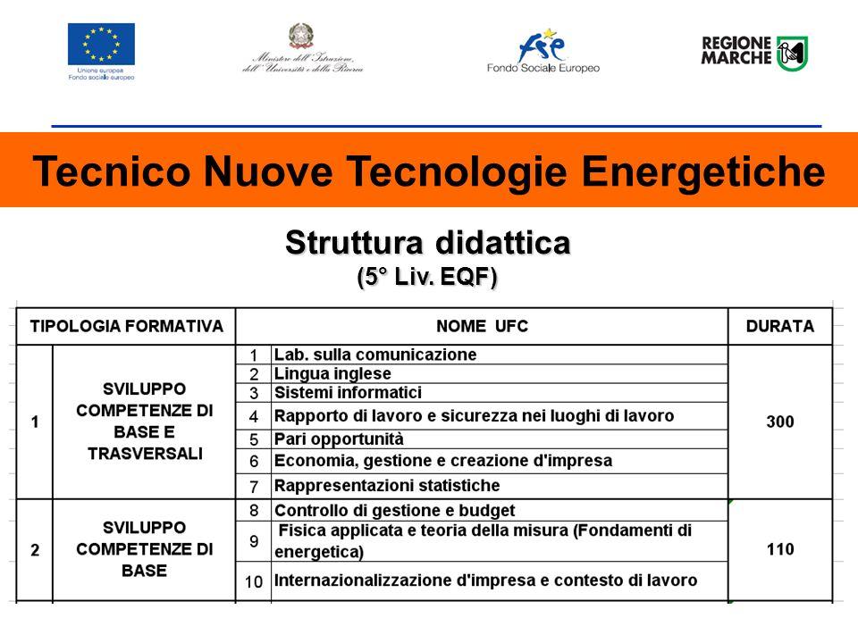 Tecnico Nuove Tecnologie Energetiche Struttura didattica (5° Liv. EQF)