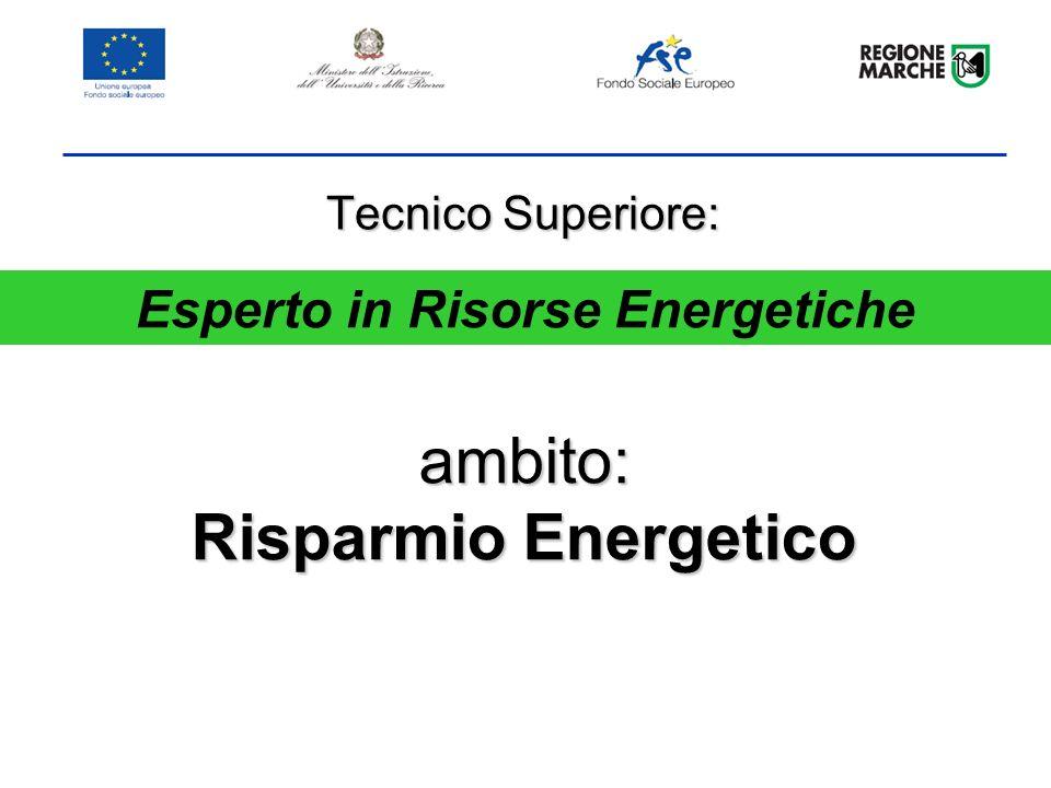 ambito: Risparmio Energetico Tecnico Superiore: Esperto in Risorse Energetiche
