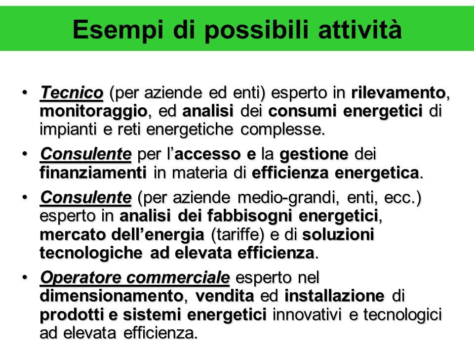 Esempi di possibili attività Tecnico (per aziende ed enti) esperto in rilevamento, monitoraggio, ed analisi dei consumi energetici di impianti e reti energetiche complesse.Tecnico (per aziende ed enti) esperto in rilevamento, monitoraggio, ed analisi dei consumi energetici di impianti e reti energetiche complesse.