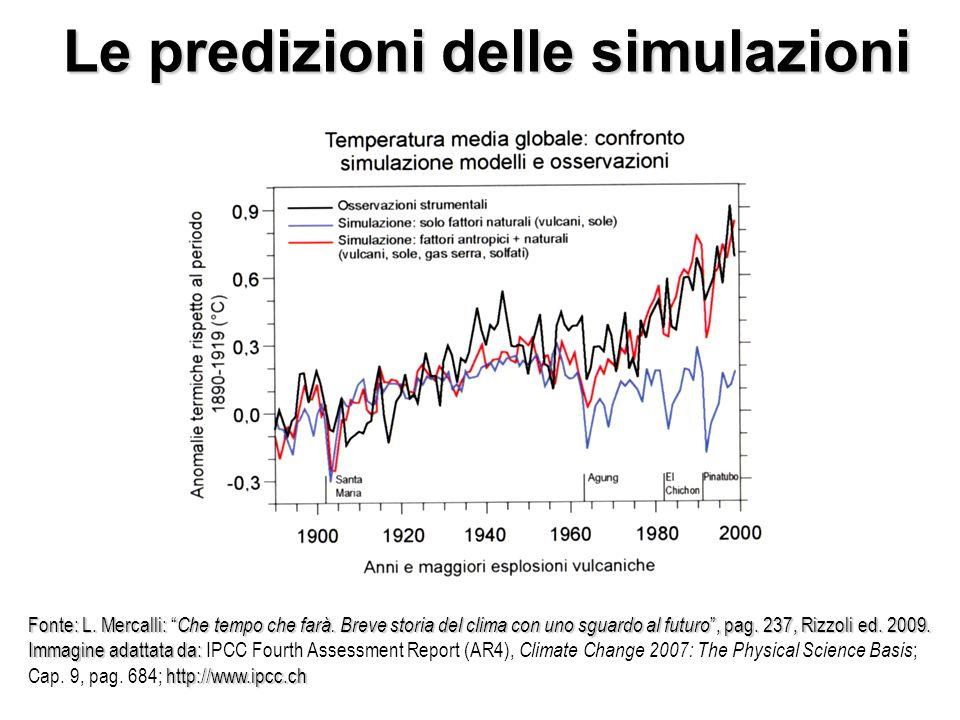 Le predizioni delle simulazioni Fonte: L. Mercalli: Che tempo che farà.