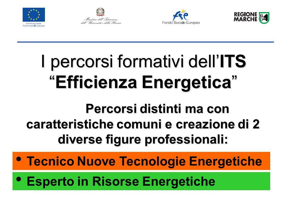 I percorsi formativi dellITSEfficienza Energetica Percorsi distinti ma con caratteristiche comuni e creazione di 2 diverse figure professionali: Tecnico Nuove Tecnologie Energetiche Esperto in Risorse Energetiche