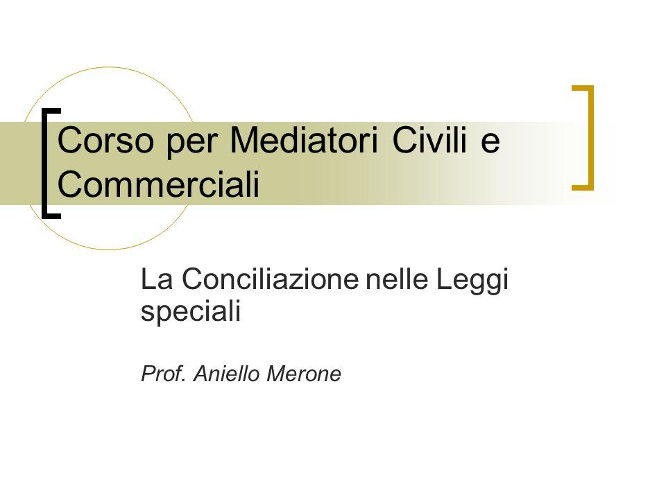 Corso per Mediatori Civili e Commerciali La Conciliazione nelle Leggi speciali Prof. Aniello Merone