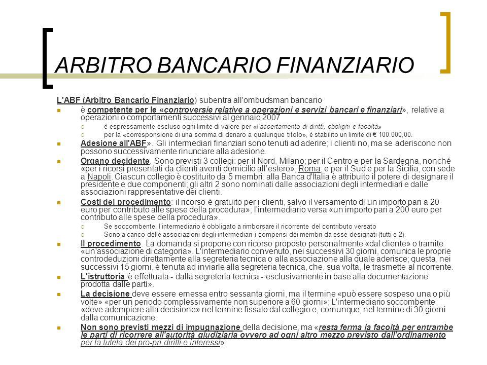 ARBITRO BANCARIO FINANZIARIO L'ABF (Arbitro Bancario Finanziario) subentra all'ombudsman bancario è competente per le «controversie relative a operazi