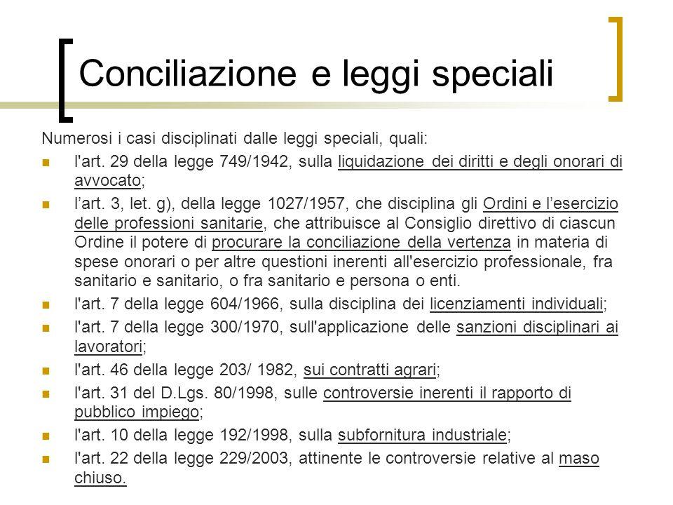 Conciliazione e leggi speciali Numerosi i casi disciplinati dalle leggi speciali, quali: l'art. 29 della legge 749/1942, sulla liquidazione dei diritt