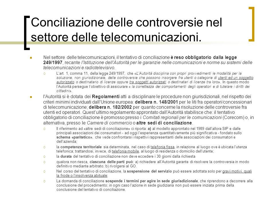 Conciliazione delle controversie nel settore delle telecomunicazioni. Nel settore delle telecomunicazioni, il tentativo di conciliazione è reso obblig