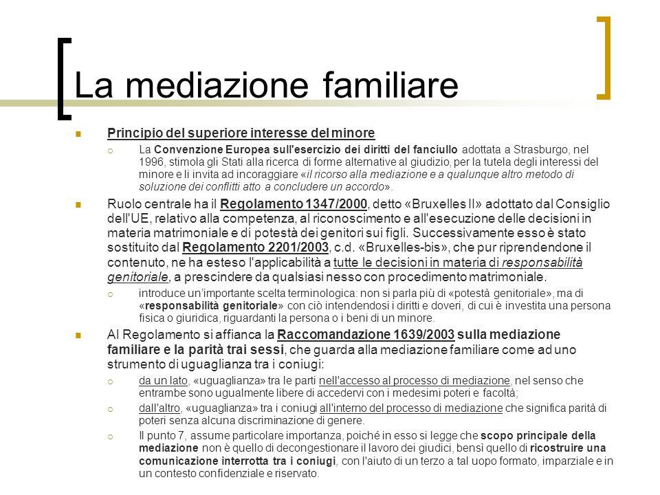La mediazione familiare Principio del superiore interesse del minore La Convenzione Europea sull'esercizio dei diritti del fanciullo adottata a Strasb