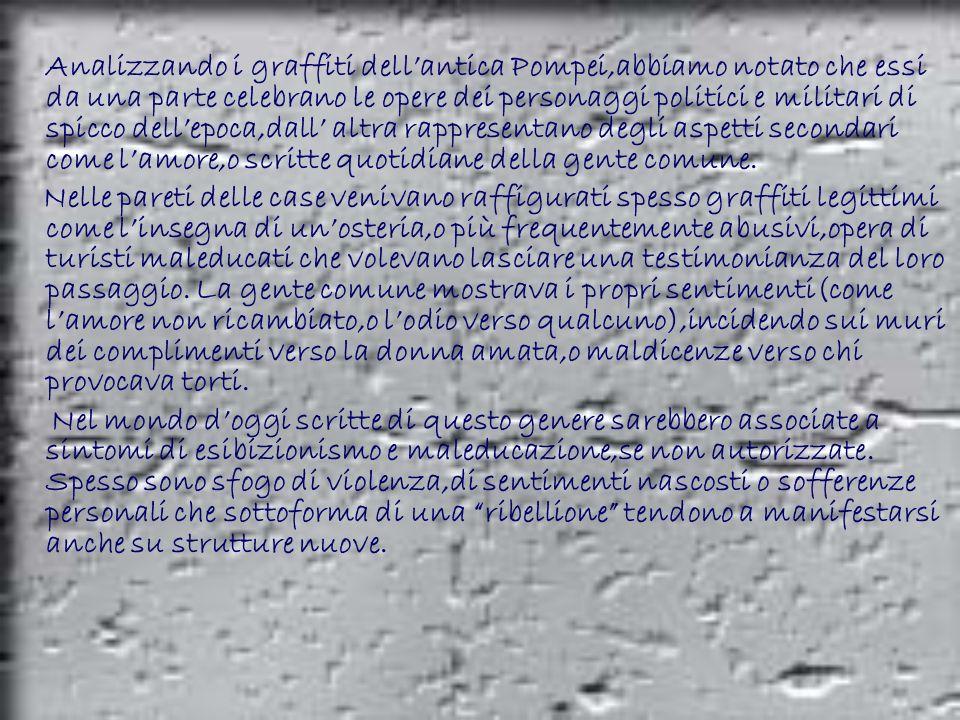 Analizzando i graffiti dellantica Pompei,abbiamo notato che essi da una parte celebrano le opere dei personaggi politici e militari di spicco dellepoc