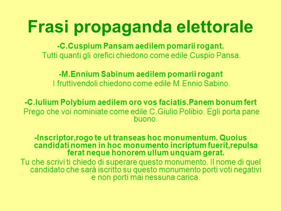Frasi propaganda elettorale -C.Cuspium Pansam aedilem pomarii rogant. Tutti quanti gli orefici chiedono come edile Cuspio Pansa. -M.Ennium Sabinum aed