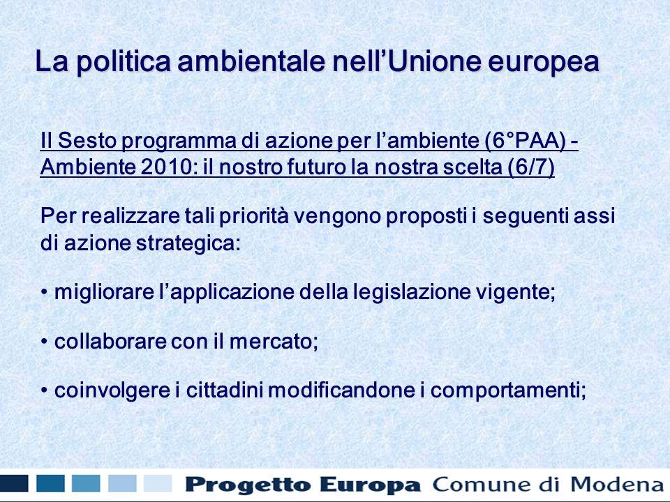 Il Sesto programma di azione per lambiente (6°PAA) - Ambiente 2010: il nostro futuro la nostra scelta (6/7) Per realizzare tali priorità vengono propo