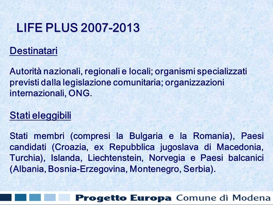 Destinatari Autorità nazionali, regionali e locali; organismi specializzati previsti dalla legislazione comunitaria; organizzazioni internazionali, ONG.