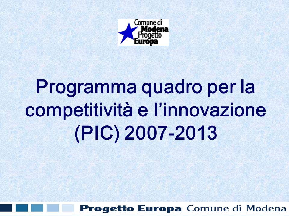 Programma quadro per la competitività e linnovazione (PIC) 2007-2013
