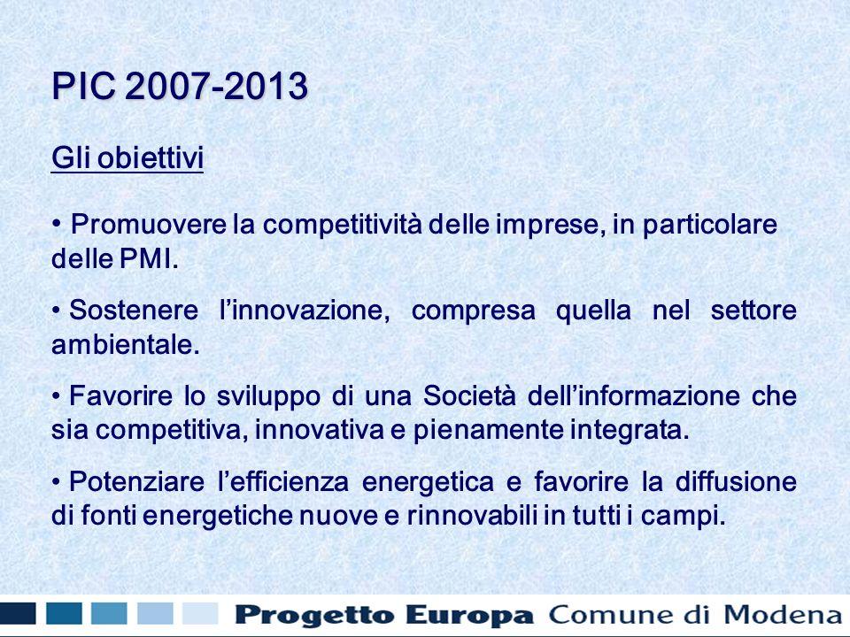 Gli obiettivi Promuovere la competitività delle imprese, in particolare delle PMI. Sostenere linnovazione, compresa quella nel settore ambientale. Fav