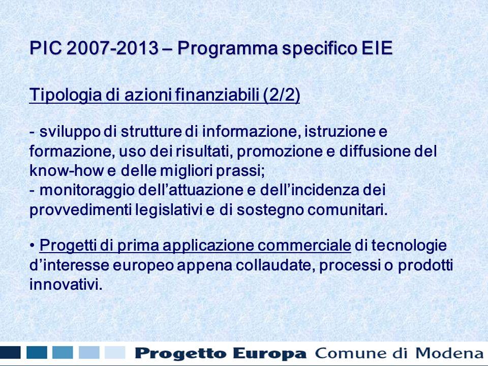Tipologia di azioni finanziabili (2/2) - sviluppo di strutture di informazione, istruzione e formazione, uso dei risultati, promozione e diffusione de