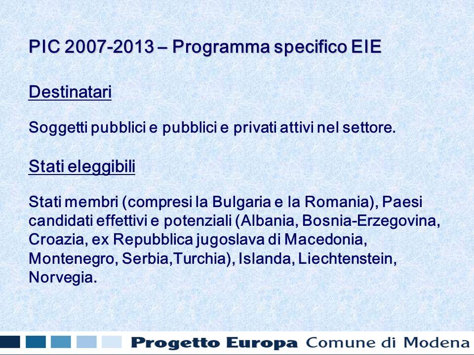 Destinatari Soggetti pubblici e pubblici e privati attivi nel settore. Stati eleggibili Stati membri (compresi la Bulgaria e la Romania), Paesi candid