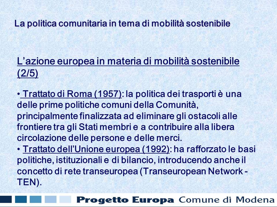 Lazione europea in materia di mobilità sostenibile (2/5) Trattato di Roma (1957): la politica dei trasporti è una delle prime politiche comuni della Comunità, principalmente finalizzata ad eliminare gli ostacoli alle frontiere tra gli Stati membri e a contribuire alla libera circolazione delle persone e delle merci.