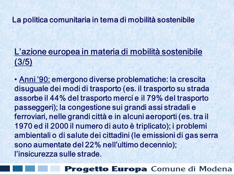 Lazione europea in materia di mobilità sostenibile (3/5) Anni 90: emergono diverse problematiche: la crescita disuguale dei modi di trasporto (es.