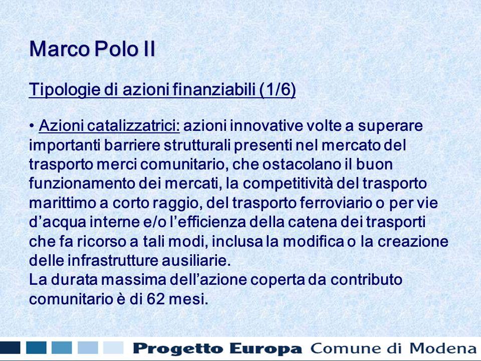 Tipologie di azioni finanziabili (1/6) Azioni catalizzatrici: azioni innovative volte a superare importanti barriere strutturali presenti nel mercato