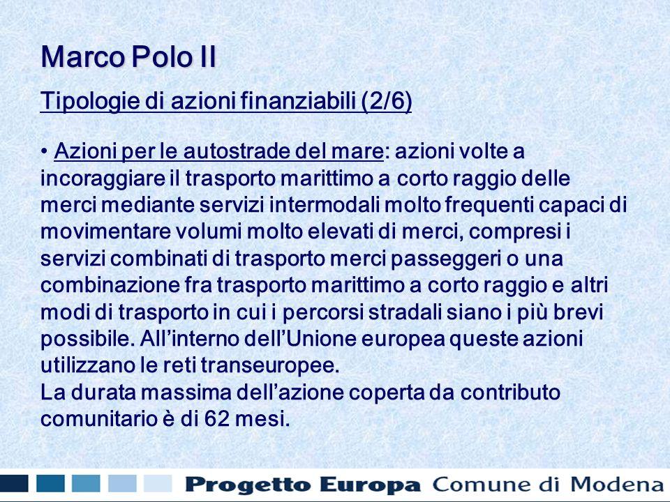 Tipologie di azioni finanziabili (2/6) Azioni per le autostrade del mare: azioni volte a incoraggiare il trasporto marittimo a corto raggio delle merc