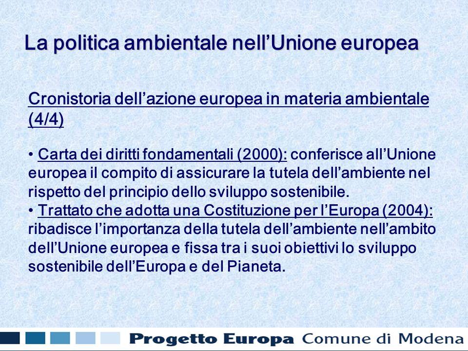 Cronistoria dellazione europea in materia ambientale (4/4) Carta dei diritti fondamentali (2000): conferisce allUnione europea il compito di assicurare la tutela dellambiente nel rispetto del principio dello sviluppo sostenibile.