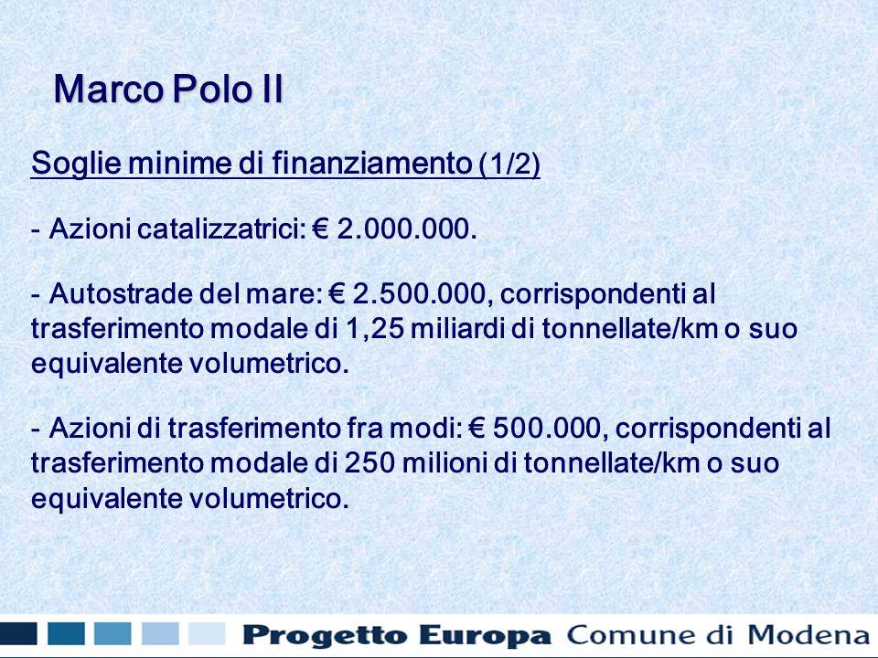 Soglie minime di finanziamento (1/2) - Azioni catalizzatrici: 2.000.000. - Autostrade del mare: 2.500.000, corrispondenti al trasferimento modale di 1