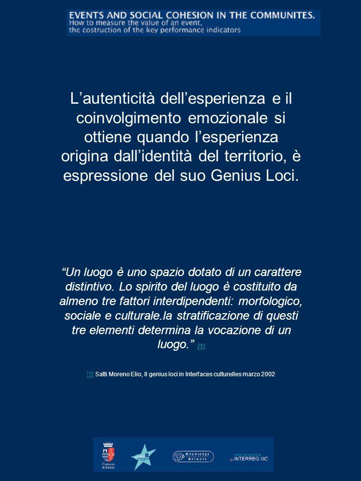 Lautenticità dellesperienza e il coinvolgimento emozionale si ottiene quando lesperienza origina dallidentità del territorio, è espressione del suo Ge