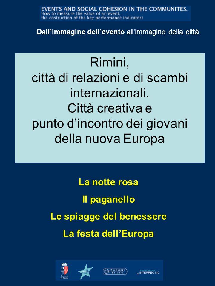 Rimini, città di relazioni e di scambi internazionali. Città creativa e punto dincontro dei giovani della nuova Europa Dallimmagine dellevento allimma