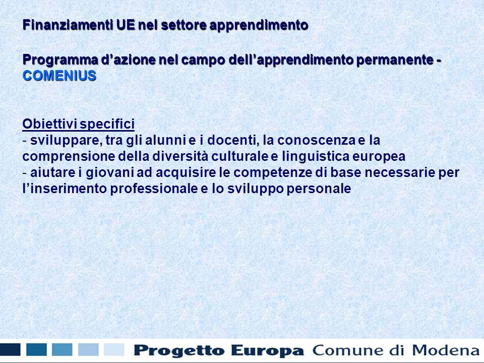 Programma dazione nel campo dellapprendimento permanente - COMENIUS Obiettivi specifici - - sviluppare, tra gli alunni e i docenti, la conoscenza e la comprensione della diversità culturale e linguistica europea - - aiutare i giovani ad acquisire le competenze di base necessarie per linserimento professionale e lo sviluppo personale Finanziamenti UE nel settore apprendimento