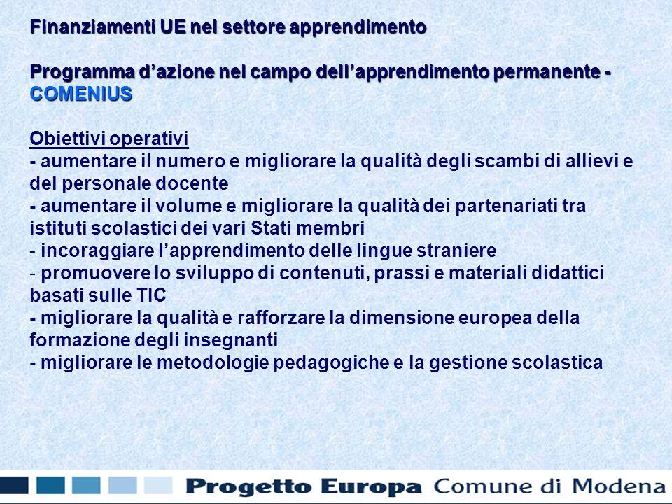 Programma dazione nel campo dellapprendimento permanente - COMENIUS Obiettivi operativi - aumentare il numero e migliorare la qualità degli scambi di allievi e del personale docente - aumentare il volume e migliorare la qualità dei partenariati tra istituti scolastici dei vari Stati membri - - incoraggiare lapprendimento delle lingue straniere - - promuovere lo sviluppo di contenuti, prassi e materiali didattici basati sulle TIC - migliorare la qualità e rafforzare la dimensione europea della formazione degli insegnanti - migliorare le metodologie pedagogiche e la gestione scolastica Finanziamenti UE nel settore apprendimento