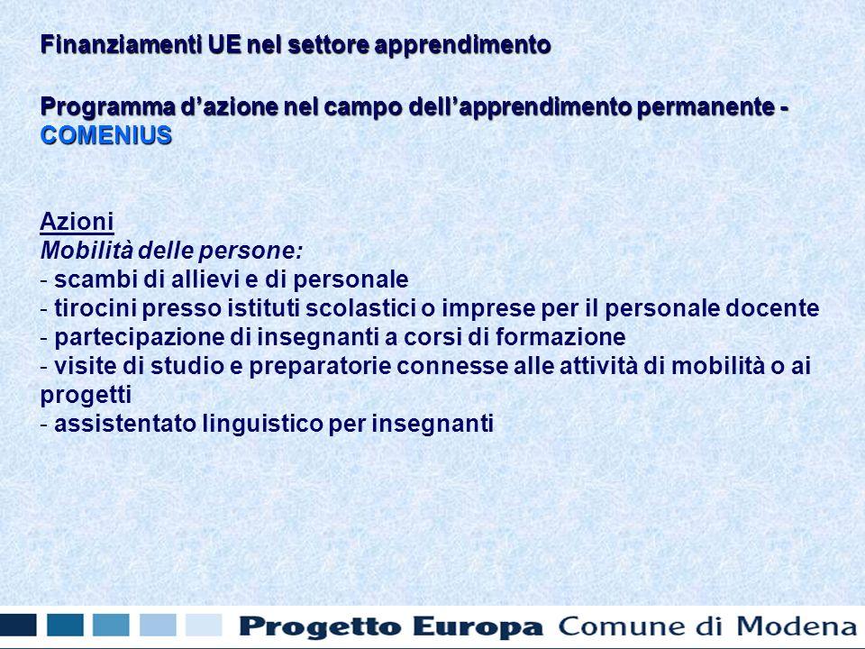 Programma dazione nel campo dellapprendimento permanente - COMENIUS Azioni Mobilità delle persone: - - scambi di allievi e di personale - - tirocini presso istituti scolastici o imprese per il personale docente - - partecipazione di insegnanti a corsi di formazione - - visite di studio e preparatorie connesse alle attività di mobilità o ai progetti - - assistentato linguistico per insegnanti Finanziamenti UE nel settore apprendimento