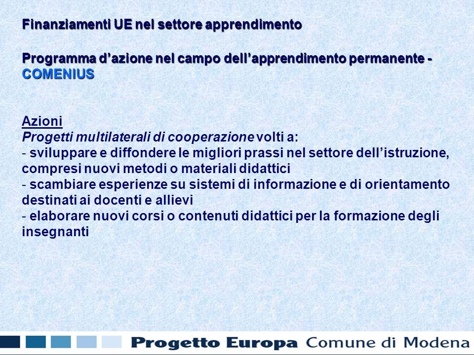 Programma dazione nel campo dellapprendimento permanente - COMENIUS Azioni Progetti multilaterali di cooperazione volti a: - - sviluppare e diffondere le migliori prassi nel settore dellistruzione, compresi nuovi metodi o materiali didattici - - scambiare esperienze su sistemi di informazione e di orientamento destinati ai docenti e allievi - - elaborare nuovi corsi o contenuti didattici per la formazione degli insegnanti Finanziamenti UE nel settore apprendimento