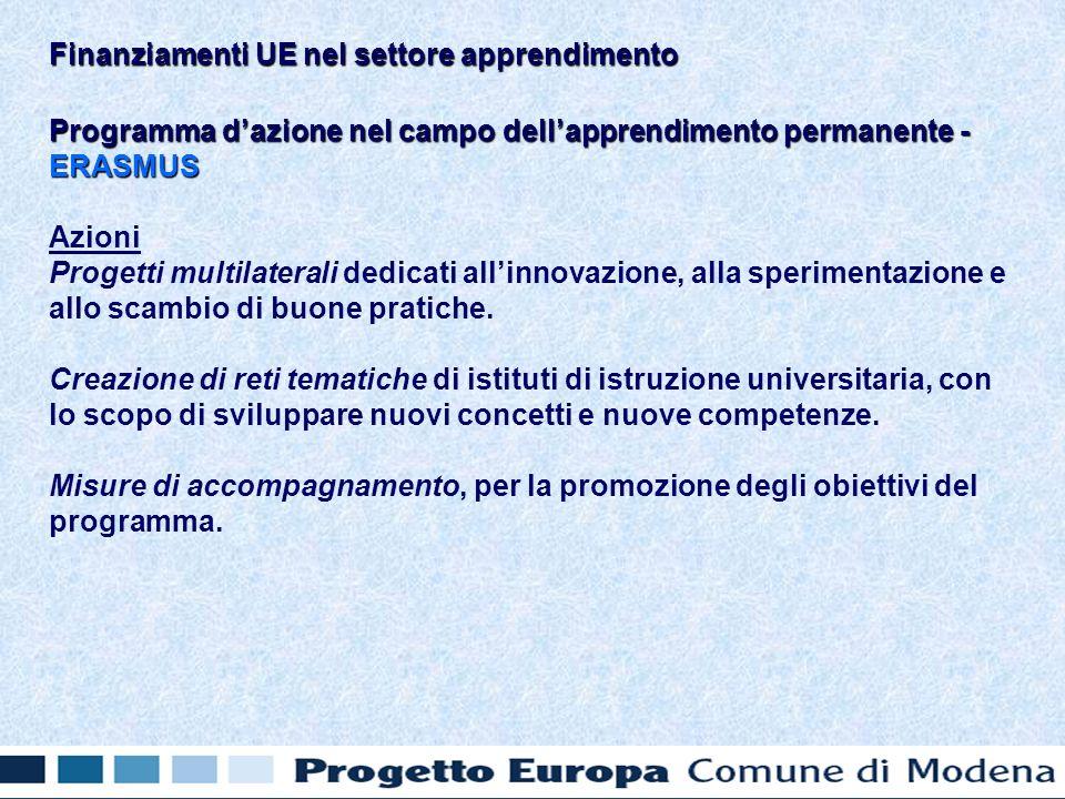 Programma dazione nel campo dellapprendimento permanente - ERASMUS Azioni Progetti multilaterali dedicati allinnovazione, alla sperimentazione e allo scambio di buone pratiche.