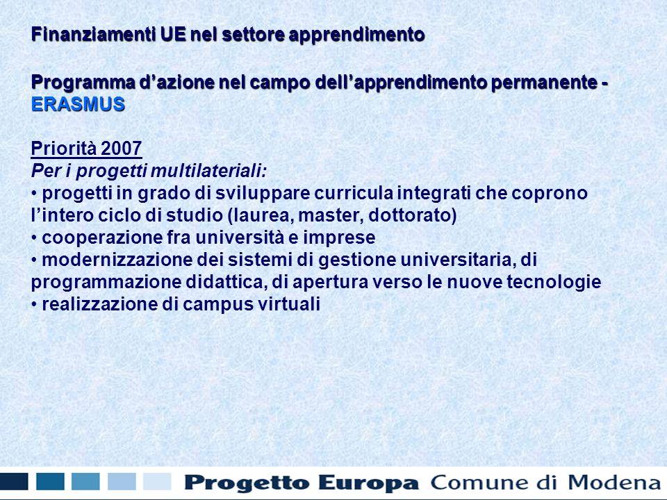 Programma dazione nel campo dellapprendimento permanente - ERASMUS Priorità 2007 Per i progetti multilateriali: progetti in grado di sviluppare curricula integrati che coprono lintero ciclo di studio (laurea, master, dottorato) cooperazione fra università e imprese modernizzazione dei sistemi di gestione universitaria, di programmazione didattica, di apertura verso le nuove tecnologie realizzazione di campus virtuali Finanziamenti UE nel settore apprendimento