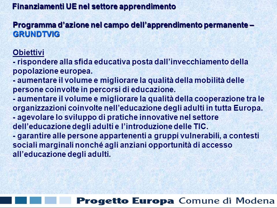 Programma dazione nel campo dellapprendimento permanente – GRUNDTVIG Obiettivi - rispondere alla sfida educativa posta dallinvecchiamento della popolazione europea.