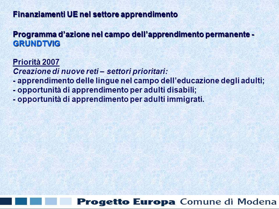 Programma dazione nel campo dellapprendimento permanente - GRUNDTVIG Priorità 2007 Creazione di nuove reti – settori prioritari: - apprendimento delle lingue nel campo delleducazione degli adulti; - opportunità di apprendimento per adulti disabili; - opportunità di apprendimento per adulti immigrati.