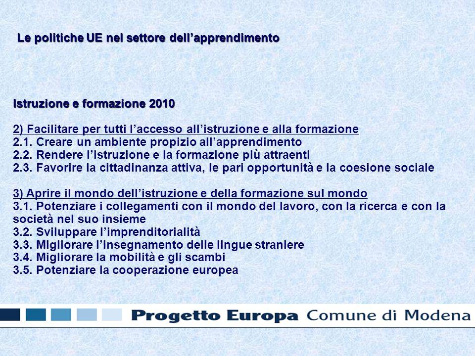 Istruzione e formazione 2010 2) Facilitare per tutti laccesso allistruzione e alla formazione 2.1.