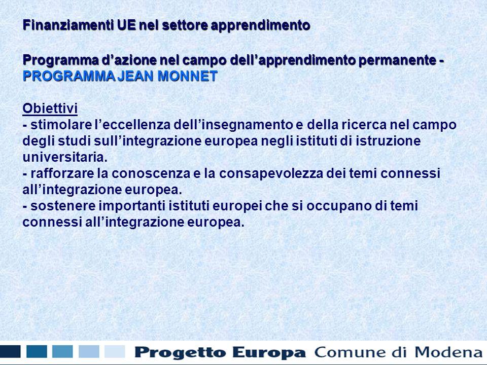 Programma dazione nel campo dellapprendimento permanente - PROGRAMMA JEAN MONNET Obiettivi - stimolare leccellenza dellinsegnamento e della ricerca nel campo degli studi sullintegrazione europea negli istituti di istruzione universitaria.