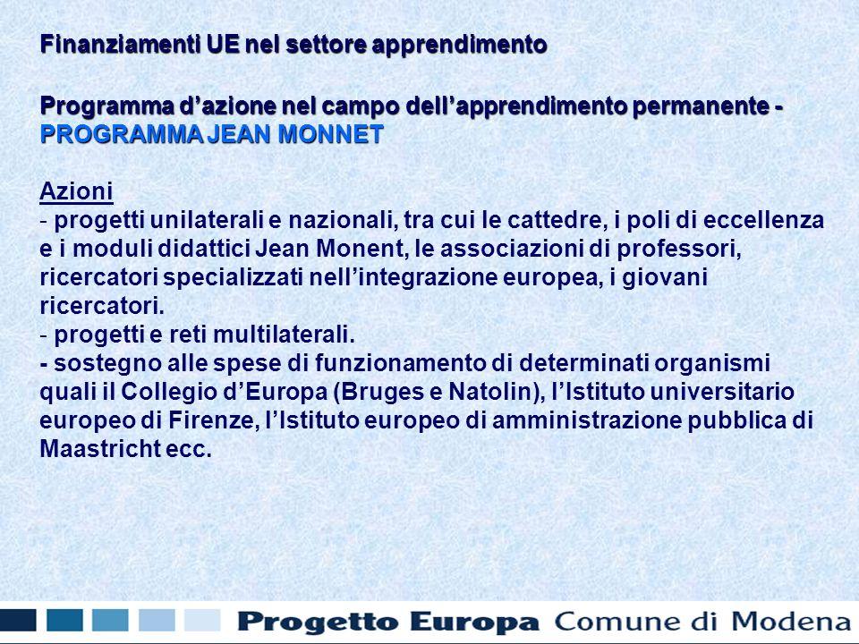 Programma dazione nel campo dellapprendimento permanente - PROGRAMMA JEAN MONNET Azioni - - progetti unilaterali e nazionali, tra cui le cattedre, i poli di eccellenza e i moduli didattici Jean Monent, le associazioni di professori, ricercatori specializzati nellintegrazione europea, i giovani ricercatori.
