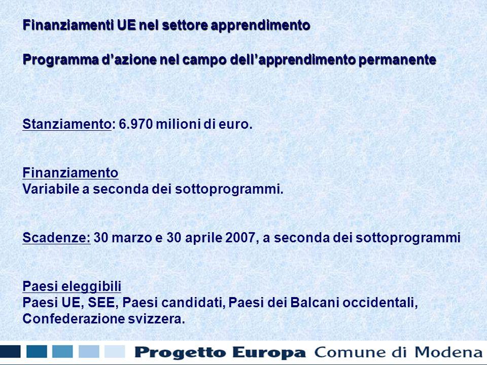 Programma dazione nel campo dellapprendimento permanente Stanziamento: 6.970 milioni di euro.