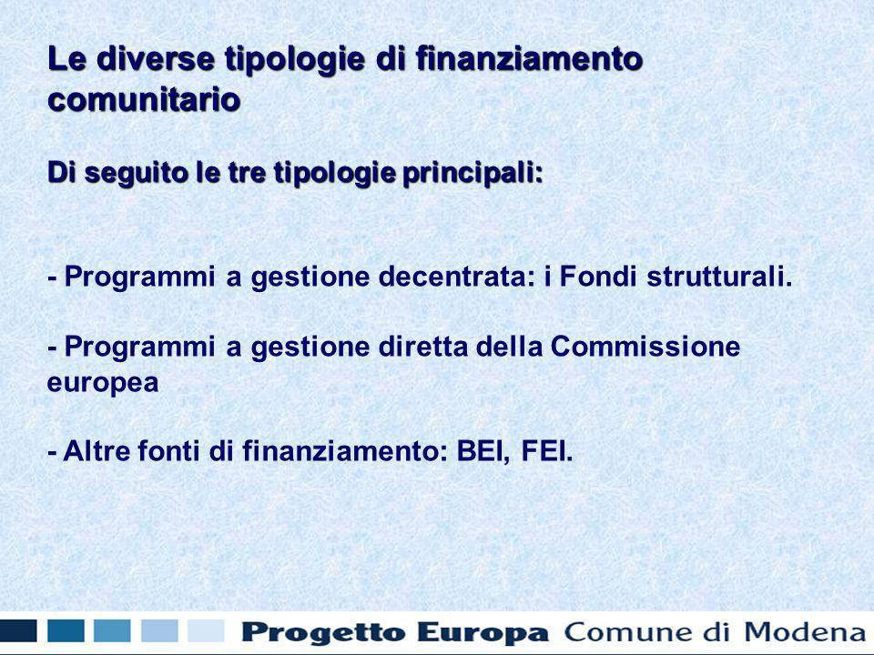 Di seguito le tre tipologie principali: - Programmi a gestione decentrata: i Fondi strutturali.
