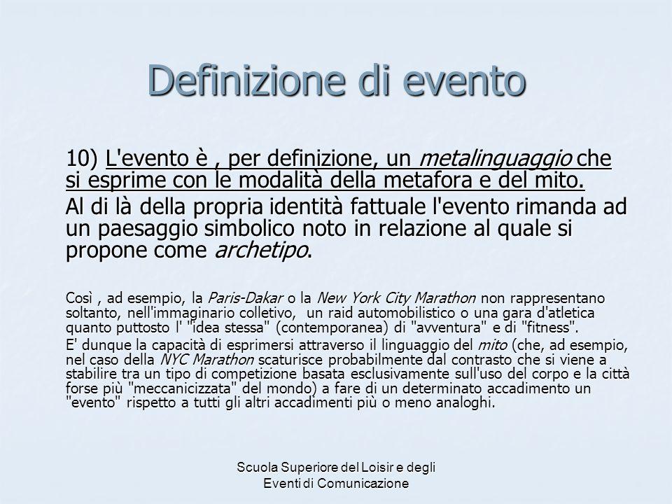 Scuola Superiore del Loisir e degli Eventi di Comunicazione Definizione di evento 10) L'evento è, per definizione, un metalinguaggio che si esprime co
