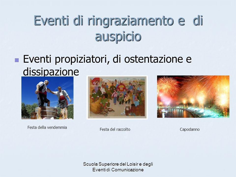 Scuola Superiore del Loisir e degli Eventi di Comunicazione Eventi di ringraziamento e di auspicio Eventi propiziatori, di ostentazione e dissipazione