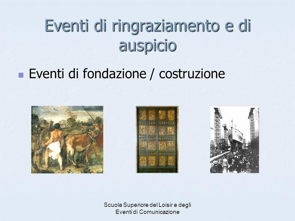 Scuola Superiore del Loisir e degli Eventi di Comunicazione Eventi di ringraziamento e di auspicio Eventi di fondazione / costruzione Eventi di fondaz