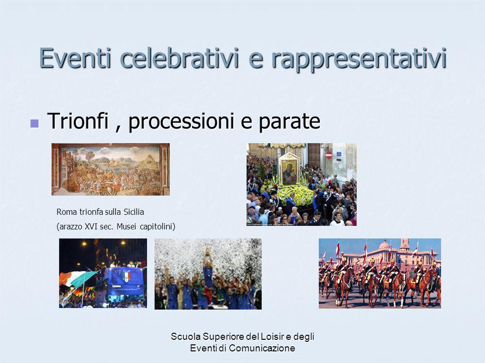 Scuola Superiore del Loisir e degli Eventi di Comunicazione Eventi celebrativi e rappresentativi Trionfi, processioni e parate Trionfi, processioni e parate Roma trionfa sulla Sicilia (arazzo XVI sec.