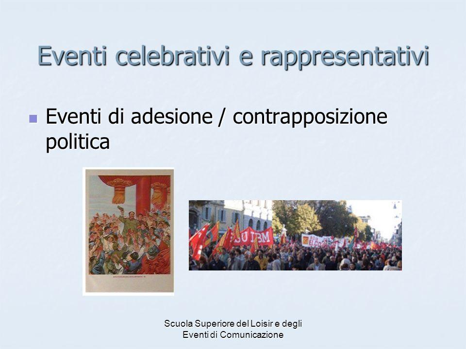 Scuola Superiore del Loisir e degli Eventi di Comunicazione Eventi celebrativi e rappresentativi Eventi di adesione / contrapposizione politica Eventi