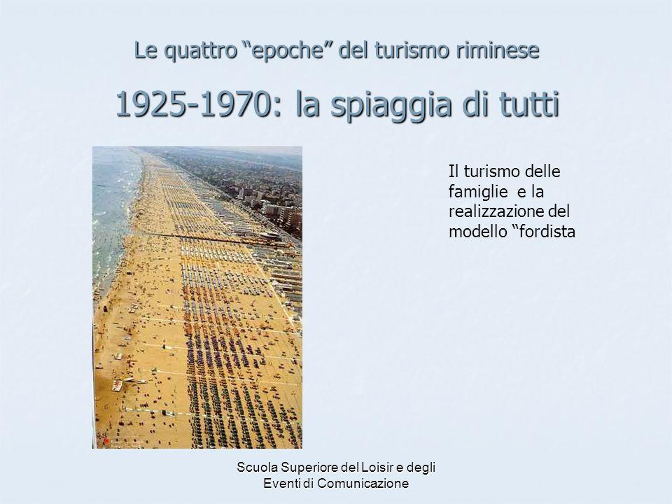 Scuola Superiore del Loisir e degli Eventi di Comunicazione Le quattro epoche del turismo riminese 1925-1970: la spiaggia di tutti Il turismo delle fa