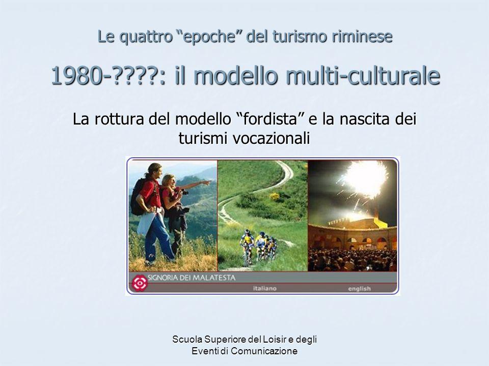 Scuola Superiore del Loisir e degli Eventi di Comunicazione Le quattro epoche del turismo riminese 1980-????: il modello multi-culturale La rottura de