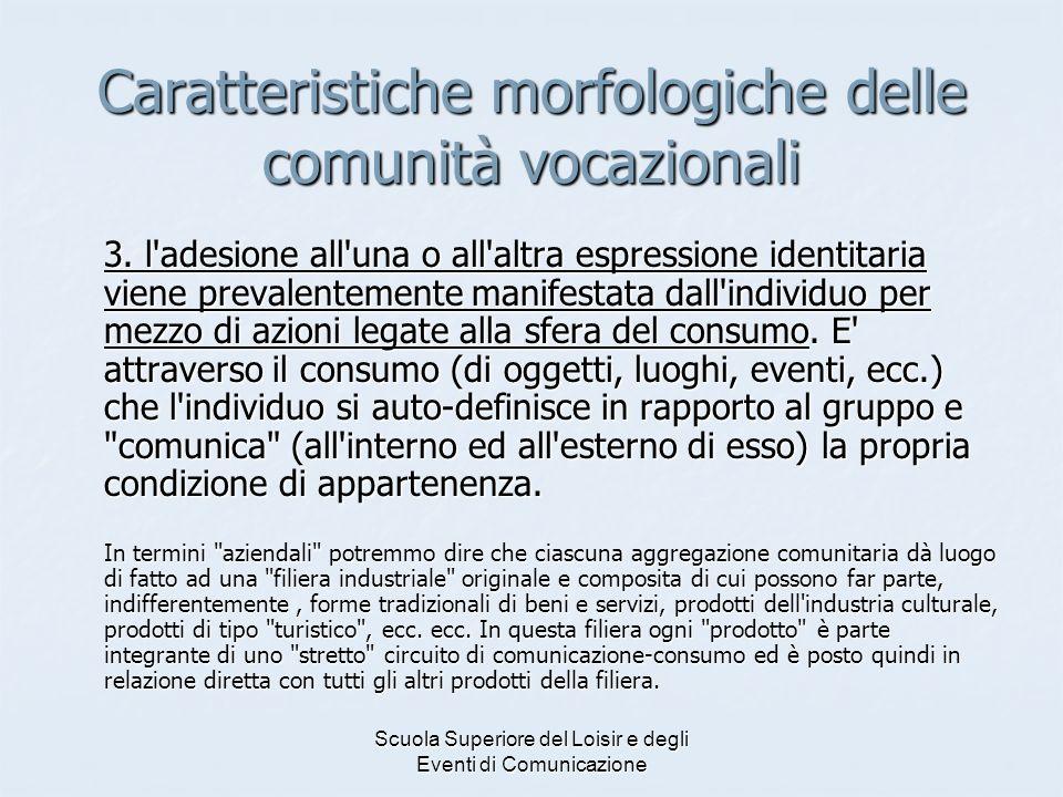 Scuola Superiore del Loisir e degli Eventi di Comunicazione Caratteristiche morfologiche delle comunità vocazionali 3.
