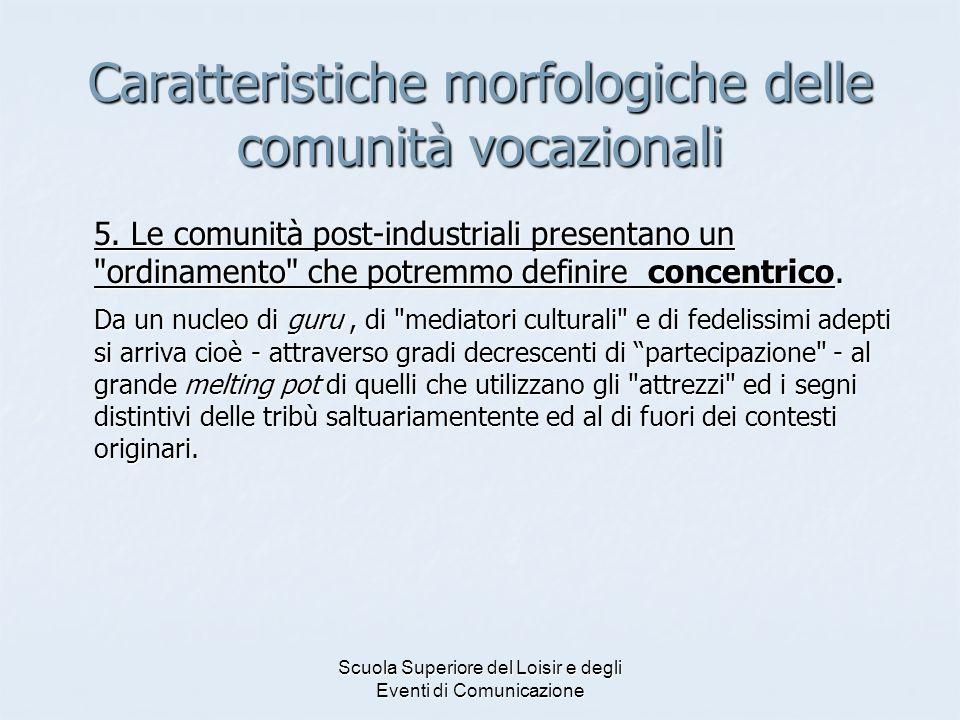Scuola Superiore del Loisir e degli Eventi di Comunicazione Caratteristiche morfologiche delle comunità vocazionali 5.