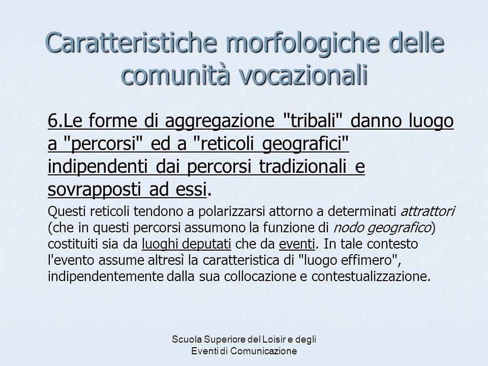 Scuola Superiore del Loisir e degli Eventi di Comunicazione Caratteristiche morfologiche delle comunità vocazionali 6.Le forme di aggregazione
