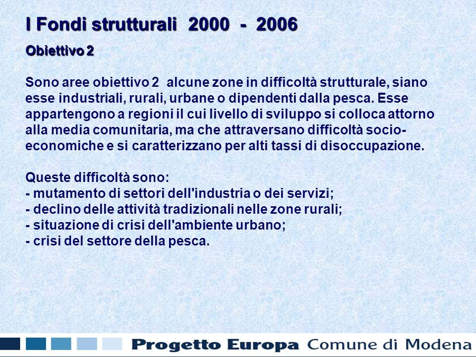 Obiettivo 2 Sono aree obiettivo 2 alcune zone in difficoltà strutturale, siano esse industriali, rurali, urbane o dipendenti dalla pesca.